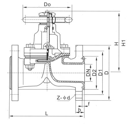 G41F气动衬氟隔膜阀主要外形和连接尺寸图
