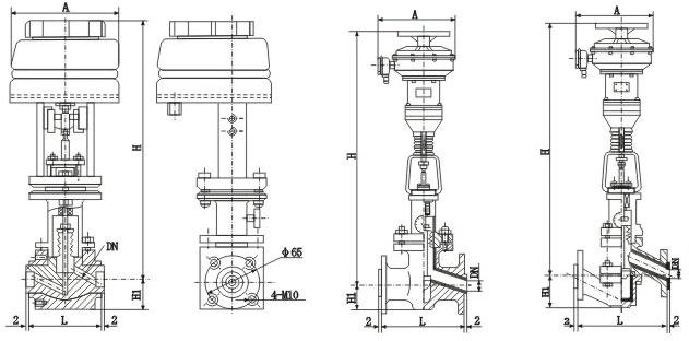 Z41衬氟调节阀外形图