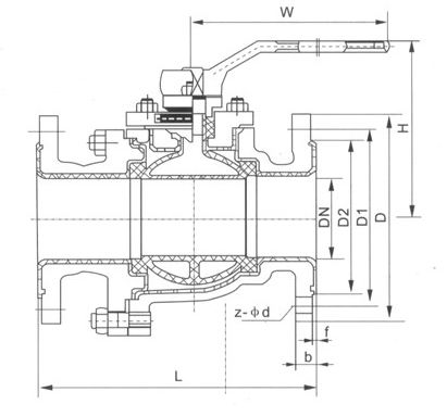 Q41F衬氟球阀结构图