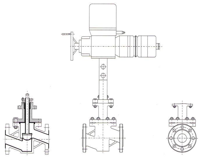 电动衬氟调节阀主要连接尺寸图